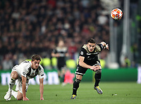 Football Soccer: UEFA Champions UEFA Champions League quarter final second leg Juventus - Ajax, Allianz Stadium, Turin, Italy, March 12, 2019. <br /> Ajax's Dusan Tadic (r) in action with Juventus' Daniele Rugani (l) during the Uefa Champions League football match between Juventus and Ajax  at the Allianz Stadium, on March 12, 2019.<br /> UPDATE IMAGES PRESS/Isabella Bonotto