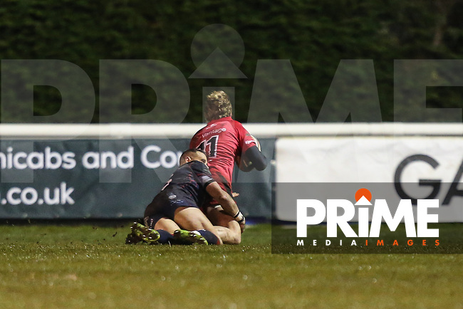Jason Worrall of Jersey Reds scores a try during the Greene King IPA Championship match between London Scottish Football Club and Jersey Reds at Richmond Athletic Ground, Richmond, United Kingdom on 16 March 2018. Photo by David Horn.
