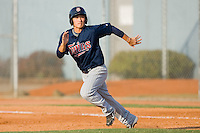 Hyeong-Rok Choi #13 of the Elizabethton Twins takes off for second base against the Johnson City Cardinals at Howard Johnson Field July 3, 2010, in Johnson City, Tennessee.  Photo by Brian Westerholt / Four Seam Images