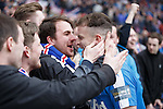 Andy Halliday with his friends after the shootout