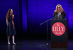 Gina Femia and Cusi Cram on stage during the 9th Annual LILLY Awards at the Minetta Lane Theatre on May 21,2018 in New York City.