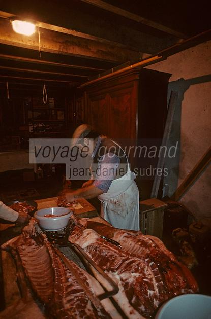"""Europe/France/Limousin/23/Creuse/Cressat: Tuade du cochon à la ferme """"La Saint Cochon"""" - La découpe de la viande"""