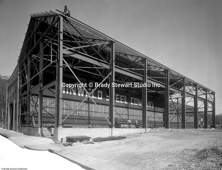 Pittsburgh PA:  View of the new addition being built onto Minweld Steel's building - 1948.  Minweld Steel was located on the west end of Rt 51.  In the 1950s, Minweld Steel was steel fabricator in Pittsburgh during the 1940s and 1950s.
