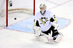 6 February 2010: Pittsburgh Penguins' goaltender Marc-Andre Fleury gives up a third period goal to the Montreal Canadiens at the Bell Centre in Montreal, Quebec, Canada. The Canadiens defeated the Penguins 5-3. Mandatory Credit: Ed Wolfstein Photo