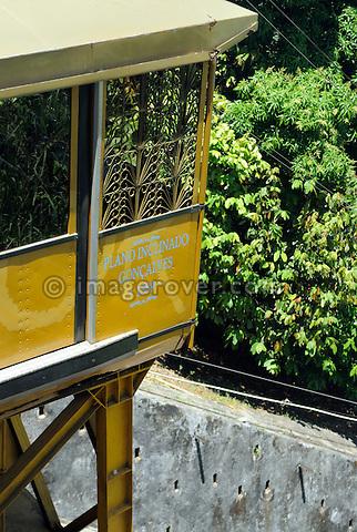 Brazil, Bahia, Salvador: The Plano Inclinado Goncalves (Goncalves Funicular Railway) on Praca da Sé provides a convenient way to travel between the Comercio neighbourhood and Pelourinho. --- No releases available.