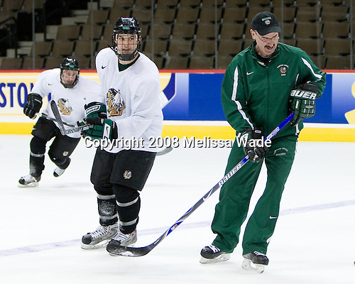 Zach Jones (North Dakota 6), Cary Eades (North Dakota Associate Head Coach) - The 2008 Frozen Four participants practiced on Wednesday, April 9, 2008, at the Pepsi Center in Denver, Colorado.