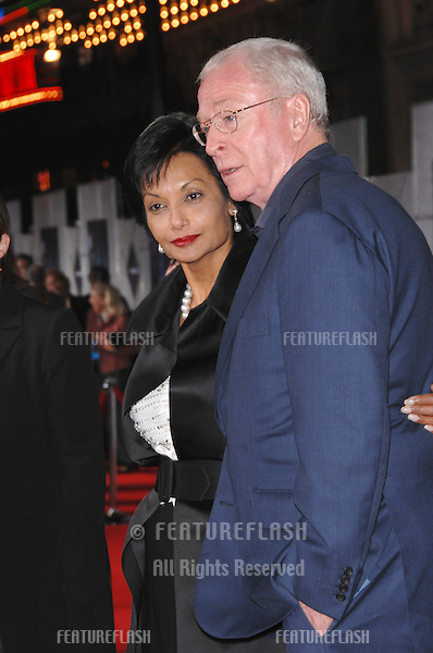 """MICHAEL CAINE & wife SHAKIRA at the world premiere, in Hollywood, of his new movie """"The Prestige""""..October 17, 2006  Los Angeles, CA.Picture: Paul Smith / Featureflash"""