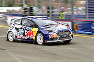 Washington, DC - June 22, 2014: Joni Wiman, driving the #31 Ford Fiesta, exits Turn 10 during the semi-finals of the inaugural Red Bull Global Rallycross on the grounds of RFK Stadium in the District of Columbia, June 22, 2014.   (Photo by Don Baxter/Media Images International)