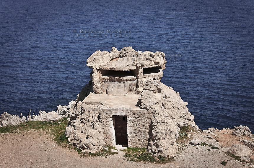 Natural reserve of Capo Gallo: second world war bunker.<br /> Riserva naturale di Capo Gallo, bunker risalente alla seconda guerra mondiale