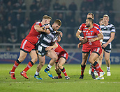 16th March 2018, The AJ Bell Stadium, Salford, England; Betfred Super League rugby, Salford Red Devils versus Hull FC; Chris Green is tackled by Salford's Craig Kopczak