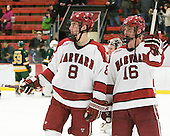 Patrick McNally (Harvard - 8), Alex Fallstrom (Harvard - 16) - The Harvard University Crimson defeated the visiting Clarkson University Golden Knights 3-2 on Harvard's senior night on Saturday, February 25, 2012, at Bright Hockey Center in Cambridge, Massachusetts.