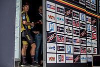 race winner Dylan Groenewegen (NED/Lotto NL - Jumbo).  awaiting the podium ceremony.<br /> <br /> 103th Kampioenschap van Vlaanderen 2018 (UCI 1.1)<br /> Koolskamp &ndash; Koolskamp (186km)