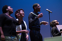 Travis Pratt performs with MSU Black Voices Gospel Choir at Lee Hall Bettersworth Auditorium - HCDC Black History Month event<br />  (photo by Megan Bean / &copy; Mississippi State University)