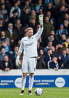 Goalkeeper Ryan Allsop (Loanee from Bournemouth) of Wycombe Wanderers during the Sky Bet League 2 match between Portsmouth and Wycombe Wanderers at Fratton Park, Portsmouth, England on 23 April 2016. Photo by Andy Rowland.
