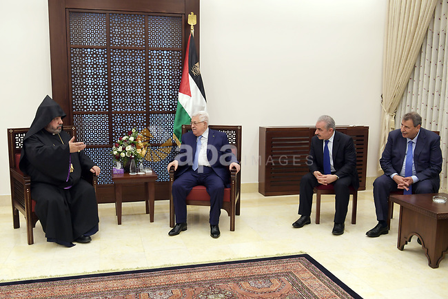 Palestinian President Mahmoud Abbas meets with the Armenian Patriarch in the West Bank city of Bethlehem, on  January 18, 2020. Photo by Thaer Ganaim