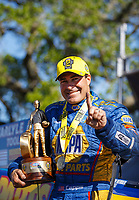 Apr 23, 2017; Baytown, TX, USA; NHRA funny car driver Ron Capps celebrates after winning the Springnationals at Royal Purple Raceway. Mandatory Credit: Mark J. Rebilas-USA TODAY Sports