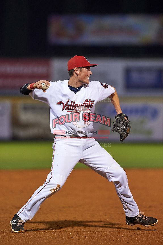 Tri-City ValleyCats third baseman Bobby Wernes (14) throws to first during a game against the Brooklyn Cyclones on September 1, 2015 at Joseph L. Bruno Stadium in Troy, New York.  Tri-City defeated Brooklyn 5-4.  (Mike Janes/Four Seam Images)