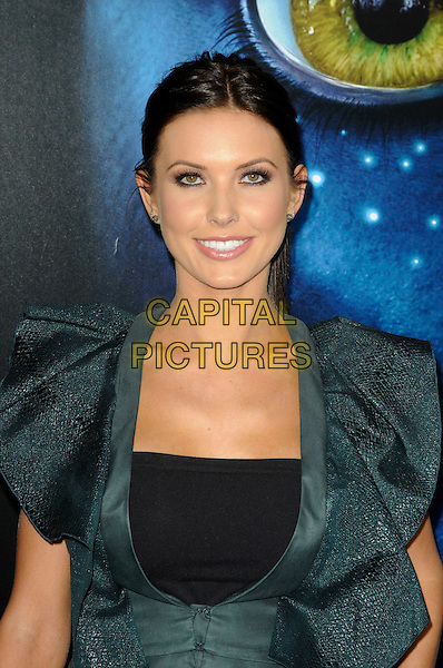 "AUDRINA PATRIDGE.The Los Angeles premiere of ""Avatar"" at Grauman's Chinese Theatre in Hollywood, California, USA..December 16th, 2009.half length black ruffle ruffles .CAP/ROT.©Lee Roth/Capital Pictures"