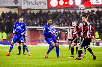 Cardiff City's forward Kenneth Zohore (10)  chips the ball forward during the Sky Bet Championship match between Sheff United and Cardiff City at Bramall Lane, Sheffield, England on 2 April 2018. Photo by Stephen Buckley / PRiME Media Images.
