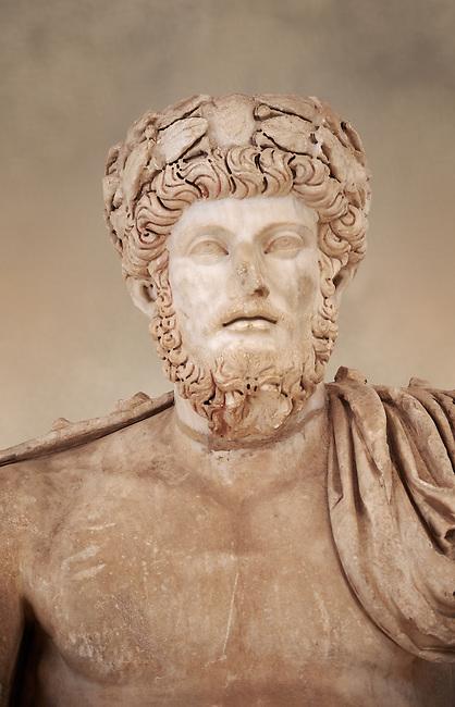 Roman sculpture of the Emperor Lucius Verus, excavated from Bulla Regia Theatre, sculpted circa 161-169 AD. The Bardo National Museum, Tunis.