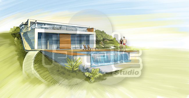 Illustrative image of couple in front of their dream home