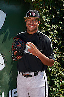 Pitcher Willie Rios (21) of St. Bernard High School in Waterford, Connecticut poses for a photo before the Under Armour All-American Game on August 24, 2013 at Wrigley Field in Chicago, Illinois.  (Mike Janes/Four Seam Images)