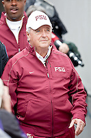 January 01, 2010:   Florida State head coach Bobby Bowden enters the field prior to the start of the Konica Minolta Gator Bowl College football action between the West Virginia Mountaineers and the Florida State Seminoles played at the Jacksonville Municipal Stadium in Jacksonville, Florida on January 01, 2010.  Florida State defeated West Virginia 33-21.