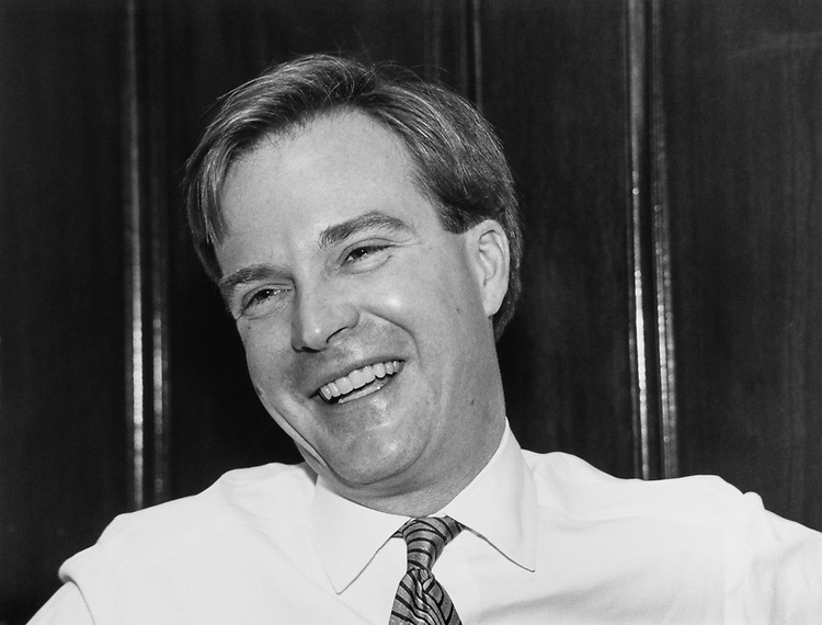 Close-up of Rep. Bill Schuette, R-Mich., on March 19, 1990. (Photo by Maureen Keating/CQ Roll Call)
