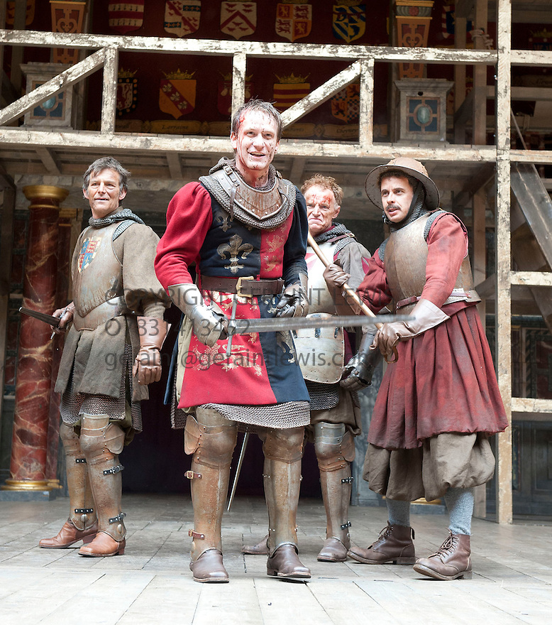 Henry V  by William Shakespeare, A Shakespeare's  Globe Production directed by Dominic Dromgoole. With  Nigel Cooke as Exeter,  Jamie Parker as Henry, James Lailey as Westmoreland, Brendan O'Hea as Fluellen. Opens at  Shakespeare's Globe  Theatre  on 13/6/12.CREDIT Geraint Lewis