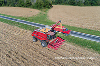 63801-12702 Unloading corn into truck during harvest-aerial  Marion Co. IL