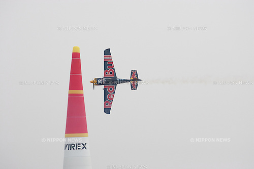 A pilot performs at the 2015 Red Bull Air Race on May 16th, 2015 in Chiba, Japan.<br /> This is the first time the Red Bull Air Race has been held in Japan and some 60,000 spectators attended the qualifying day for Round 2 in the World Championship. (Photo by Michael Steinebach/Aflo)