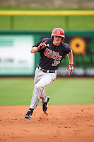 Ball State Cardinals Matt Eppers (35) running the bases during a game against the Alabama State Hornets on February 18, 2017 at Spectrum Field in Clearwater, Florida.  Ball State defeated Alabama State 3-2.  (Mike Janes/Four Seam Images)