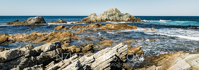 Rock formations at Tora, Wellington Region, Wairarapa, North Island, New Zealand, NZ