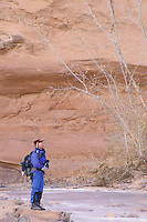 Man hiking Horseshoe Canyon, Canyonlands National Park, Utah