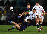 Ollie Lawrence of England U20 offloads the ball. U20 Six Nations match, between England U20 and Scotland U20 on March 15, 2019 at Franklin's Gardens in Northampton, England. Photo by: Patrick Khachfe / JMP