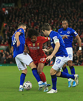 5th January 2020; Anfield, Liverpool, Merseyside, England; English FA Cup Football, Liverpool versus Everton; Yasser Larouci of Liverpool is tackled by Morgan Schneiderlin and Seamus Coleman of Everton - Strictly Editorial Use Only. No use with unauthorized audio, video, data, fixture lists, club/league logos or 'live' services. Online in-match use limited to 120 images, no video emulation. No use in betting, games or single club/league/player publications