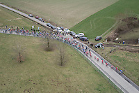 Top view over the peloton<br /> <br /> 72nd Omloop Het Nieuwsblad 2017