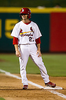 Shane Robinson (27) of the Springfield Cardinals stands on third base during a game against the Tulsa Drillers at Hammons Field on July 18, 2011 in Springfield, Missouri. Tulsa defeated Springfield 13-8. (David Welker / Four Seam Images)