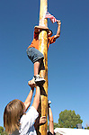 Reaching for the prize on the greased pole climb for kids 10 & under. 1st prize was $500 with no kid touching the flag for the money, Saturday at Carson Valley Days at Lampe Park.