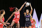 13th September 2017, Hamilton, New Zealand;  New Zealand shooter Maria Tutaia lines up a shot under pressure from England defender Ama Agbeze during the Taini Jamison Trophy international netball match - Silver Ferns versus  England played at Claudelands Arena, Hamilton, New Zealand on Wednesday 13 September 2017