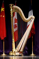 The Lyon and Healy Concert Grand Harp is pictured on stage before the awards ceremony of the 11th USA International Harp Competition at Indiana University in Bloomington, Indiana on Saturday, July 13, 2019. (Photo by James Brosher)