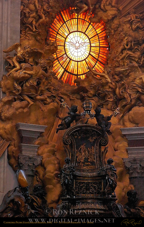 Gloria over Cathedra Petri Gilded Stucco Angels and Cherubs Bohemian glass window Chair of St Peter Gilded Bronze Cherubs holding Papal Keys and Tiara Relief Feed my Sheep GianLorenzo Bernini 1666 Apse St Peter's Basilica Rome