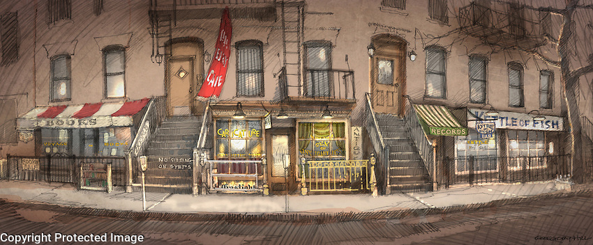 The redress of an existing location in New York to create the famous Gaslight Cafe and neighboring shops ca. 1961.