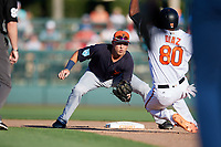 Detroit Tigers second baseman Kody Clemens (89) waits to tag Yusniel Diaz (80) as he slides into second base during a Grapefruit League Spring Training game against the Baltimore Orioles on March 3, 2019 at Ed Smith Stadium in Sarasota, Florida.  Baltimore defeated Detroit 7-5.  (Mike Janes/Four Seam Images)