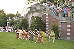 Old Westbury, New York, U.S. - June 21, 2014 - Lori Belilove & The Isadora Duncan Dance Company dances in Greek tunics throughout the gardens during the Midsummer Night event at the historic Long Island Gold Coast estate of Old Westbury Gardens on the first day of summer, the summer solstice.