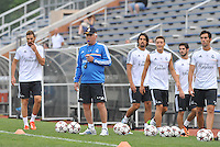 Saint Louis, MO August 1 2013.<br /> Head Coach Carlos Ancelotti watches players practice.<br /> Real Madrid practiced at Herman Stadium on the campus of Saint Louis University ahead of their international friendly with Inter Milan at the Edward Jones Dome.