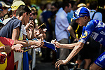 Enric Mas (ESP) Deceuninck-Quick Step with fans at sign on before the start of Stage 16 of the 2019 Tour de France running 177km from Nimes to Nimes, France. 23rd July 2019.<br /> Picture: ASO/Pauline Ballet | Cyclefile<br /> All photos usage must carry mandatory copyright credit (© Cyclefile | ASO/Pauline Ballet)