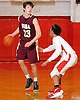 Patrick Fleming #23 of Iona Prep, left, is guarded by Brandon Jacobs #1 of Long Island Lutheran during a varsity boys' basketball game at Long Island Lutheran High School on Tuesday, Jan. 26, 2016. Lutheran won by a score of 58-47 win.