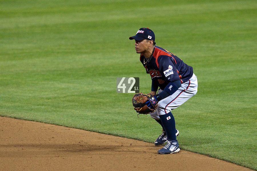 17 March 2009: #8 Akinori Iwamura of Japan is seen on defense at second base during the 2009 World Baseball Classic Pool 1 game 4 at Petco Park in San Diego, California, USA. Korea wins 4-1 over Japan.
