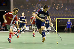 Berlin, Germany, January 31: During the 1. Bundesliga Herren Hallensaison 2014/15 semi-final hockey match between Rot-Weiss Koeln (dark blue) and Club an der Alster (red) on January 31, 2015 at the Final Four tournament at Max-Schmeling-Halle in Berlin, Germany. Final score 4-3 (2-2). (Photo by Dirk Markgraf / www.265-images.com) *** Local caption *** Friedrich Groepper #29 of Club an der Alster, Joshua Delarber #6 of Rot-Weiss Koeln